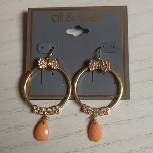 🎁 3 For $15 Bow & Bling Peach Dangle Hoops
